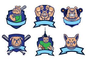 Bulldog Mascot Vector Logo Set