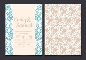 Vector Blue Branches Hochzeit Einladung