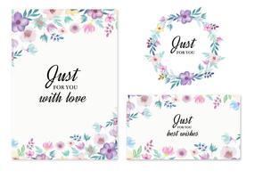 Freie Vektor Hochzeit Einladung mit Aquarell Blumen