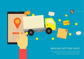 Flytta van eller lastbil. Transport eller leverans illustration. vektor