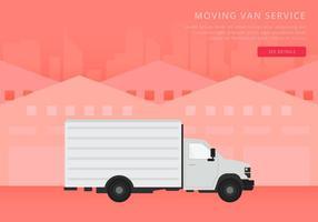 Verschieben von Van oder LKW. Transport oder Lieferung Illustration. vektor