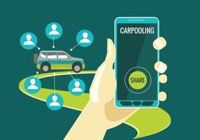 Carpooling Konzept auf grünem Hintergrund vektor
