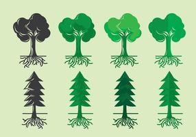 Träd med rötter variant ikon vektor