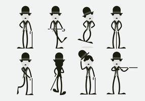 Lustig Charlie Chaplin Charakter Vektor