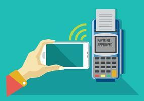 Betalning på ett handels- genom mobil och NFC-teknik
