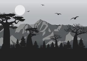 Berglandschaft mit Film Grain-Effekt Vektor