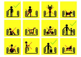 Gelbe Rolltreppe Zeichen Vektor