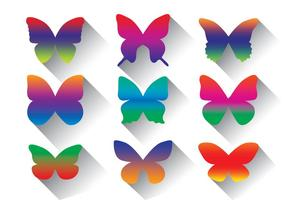 Regenbogen-Schmetterlings-vektor-Satz