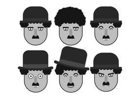 Charlie Chaplin ansikte vektor uppsättning