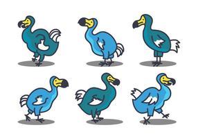 Dodo söt illustration uppsättning vektor