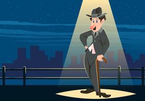 Charlie Chaplin steht unter dem Licht vektor