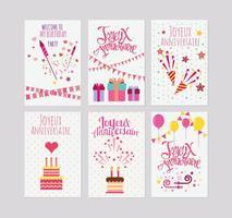 Födelsedag eller Joyeux Anniversaire hälsnings- och inbjudningskort vektorer
