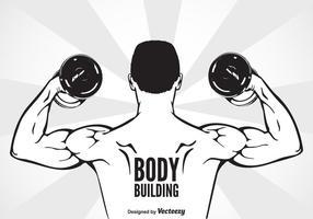 Bodybuilder mit Hantel Biegung Muskeln