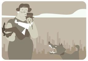 Dame speichert Charlie Chaplin von Hund Vektor