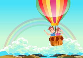 Kinder, die einen Heißluftballon-Vektor reiten