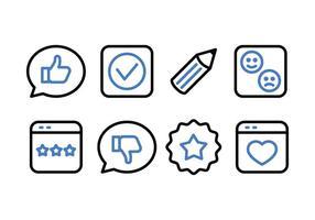 Vittnesmål och feedback Icon Pack vektor