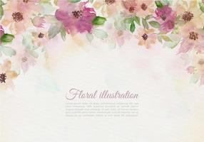 Gratis Vector Vintage Akvarell Blomillustration