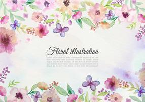 Gratis vektor akvarell bakgrund med målade blommor och fjäril