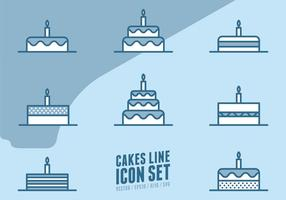 Kuchen Linie Icons vektor
