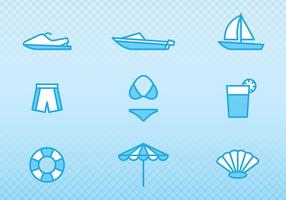 Semester och sommar skiss ikoner vektor