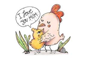 Gullig mamma kyckling och son med söt citat