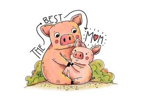 Nette Mama Piggy und Lied mit Beschriftung vektor