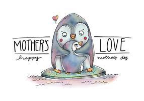 Netter Mamma-Pinguin und Sohn über Eis mit Zitat