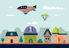 Hot Air Balloon Blimp Vector Illustration