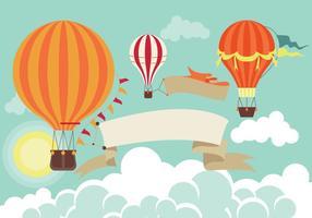Varmluftsballong i himlen vektor