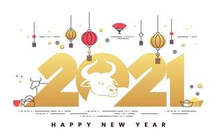 kinesiskt nyår 2021 minimalistiskt koncept