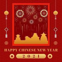 chinesisches Neujahrsfeuerwerk 2021 vektor