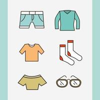 Unisex Kleidung und Accessoires einfaches Icon Set
