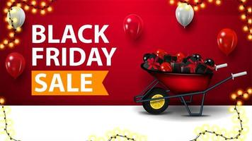svart fredag försäljning, röd rabatt banner