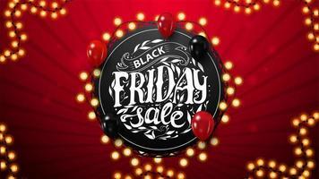 svart fredag försäljning, rabattkupong med runda bokstäver vektor