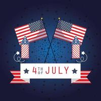4 juli firande banner med fyrverkerier och flaggor
