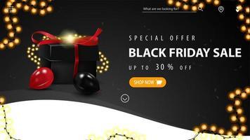 Black Friday Sale, bis zu 30 Rabatt auf Banner vektor