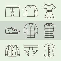 unisex kläder och accessoarer enkel ikonuppsättning
