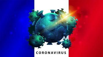 tecken på coronavirus covid-2019 på franska flaggan