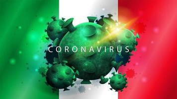 Zeichen des Coronavirus covid-2019 auf italienischer Flagge