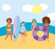 människor på stranden gör sommaraktiviteter