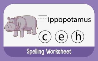 finde fehlenden Buchstaben mit Nilpferd vektor