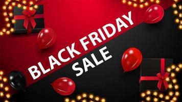 rotes und schwarzes Rabattbanner für schwarzen Freitag