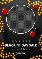 svart fredag försäljning, svart vertikal rabatt banner