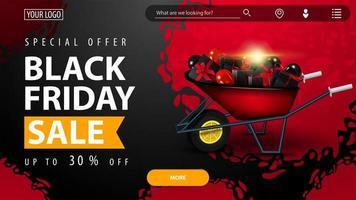 svart fredag försäljning, röd och svart banner