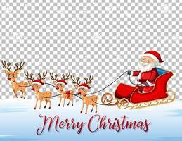 jultomten på släde med renar och teckensnitt för god jul på transparent bakgrund vektor