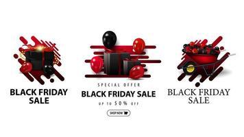 svart fredag försäljning, uppsättning rabattkuponger vektor
