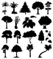 uppsättning av växter och träd silhuett