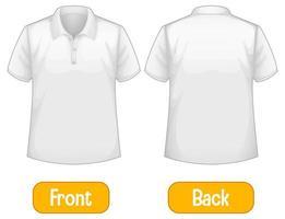 entgegengesetzte Wörter mit Vorder- und Rückseite des Hemdes vektor