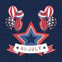 4. Juli Feier Banner mit Luftballons