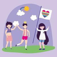 Cartoon lgbtqi Zeichen für Stolzfeier